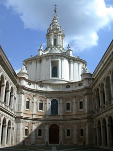 Courtyard and façade of Sant'Ivo alla Sapienza, Rome, Italy