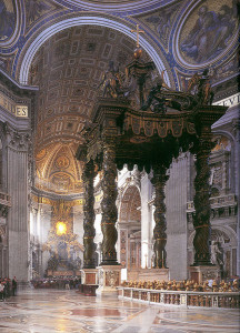 Baldachin, St. Peter's, Vatican City, by Gian Lorenzo Bernini, 1624–33