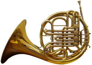 French horn made in brass.