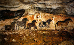 Frieze of the Small Horses a Lascaux cave, in France.