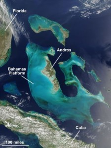 A NASA satellite image of the Bahamas Platform where active limestone formation occurs today.