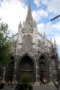 West façade of the church of Saint-Maclou, Rouen, France, begun 1437