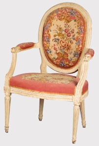 The backrest in medallion is one of the innovations of Louis XVI style regarding seats.