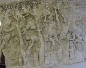Roman soldiers felling trees for construction purposes. Detail Trajan's Column.