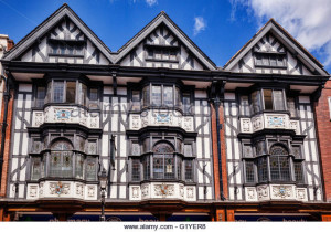 Tudor building in Pride Hill, Shrewsbury, half timbered and decorated with pargetting, Shropshire.