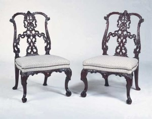 Mahogany ribbonback chairs in the Rococo style, designed by Thomas Chippendale, 18th century.