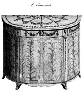 "Drawing of ""A commode"" from Heppelwhite."
