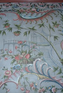 Wallpaper on canvas, handpainted with chinoiserie ornaments.