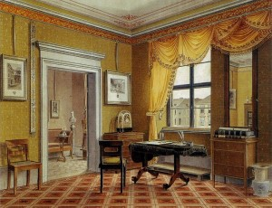 Chamber painting of a Biedermeier style, 1825, by Leopold Zielcke.