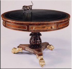 Library drum table in regency style