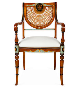 Sheraton style cane-backed armchair