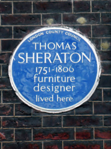 Plaque to Thomas Sheraton's memory in London.