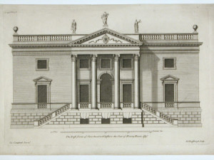 Print, engraving, The East Front of Stourhead, Wiltshire (after Colen Campbell) by Hendrick Hulsberg ( London 1729).