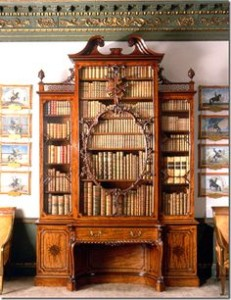 Chippendale bookcase in the smoking room at Wilton House, Salisbury.