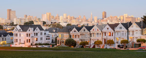 "Painted Ladies"" San Francisco, California in Victorian Style."