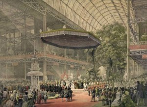 Queen Victoria presiding at the state opening of the Great Exhibition of 1851 at the Crystal Palace, Sydenham Hill, London, May 1, 1851.