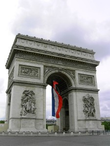 The Arc de Triomphe of the Place de l'Étoile, probably the most famous example of Empire architecture, commissioned in 1806 after the victory at Austerlitz by Emperor Napoleon I.