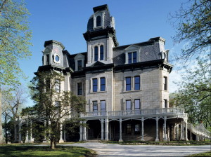 La Salle, IL. Hegeler Carus Mansion, c. 1876, with full Second-Empire form, styling and Mansard roof.