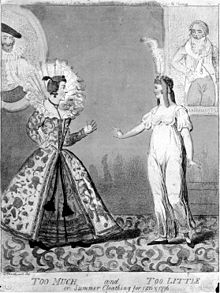 A satirical contrast between old Elizabethan and Directoire clothing styles,1796