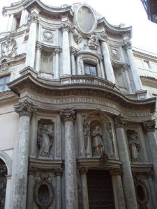 Facade of Church of San Carlo alle Quattro Fontane by Francesco Borromini