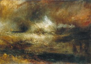 Joseph Mallord William Turner, Stormy Sea with Blazing Wreck, c.1835–40.