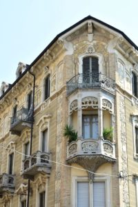 An example of balcony in Turin. This building is known as Casa Tasca.