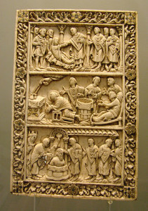 Ivory plaque, probably from a book cover, Reims late 9th century, with two scenes from the life of Saint Remy and the Baptism of Clovis