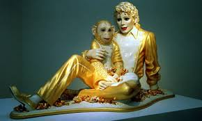 American pop superstar Michael Jackson with his pet monkey Bubbles by Jeff Koons. Photograph: David Kendall/PA