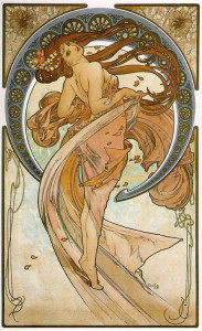 Lithographic poster by Mucha, Dancel (1898).