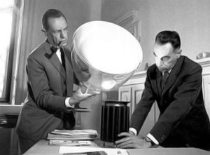 Achille and Pier Giacomo Castiglioni with their Taccia Table Lamp, 1962