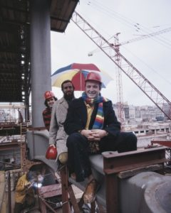 Rogers with his former collaborator Renzo Piano, and behind them acclaimed engineer Peter Rice, during the building of the Pompidou Centre, 1974.