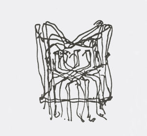 Frank Gehry's sketch for the Cross Check Chair, 1990.