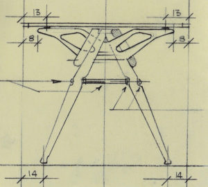 Carlo Mollino, Reale table, sketch (1948)