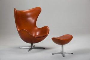 Brown Egg Chair & Stool by Arne Jacobsen