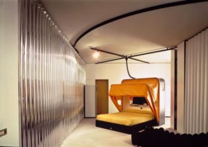 Museum of Modern Art (New York), in just 28 m2 of space, a kitchen, closets, beds, private area and bathroom, detail, 1972.