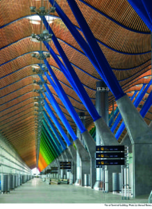 Richard Rogers Partnership, Terminal 4, Barajas Airport, Madrid, 1997-2005. Coloured structural 'trees' in the airport terminal