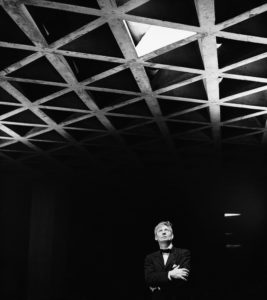 Louis Kahn Looking at His Tetrahedral Ceiling in the Yale University Art Gallery, 1953.