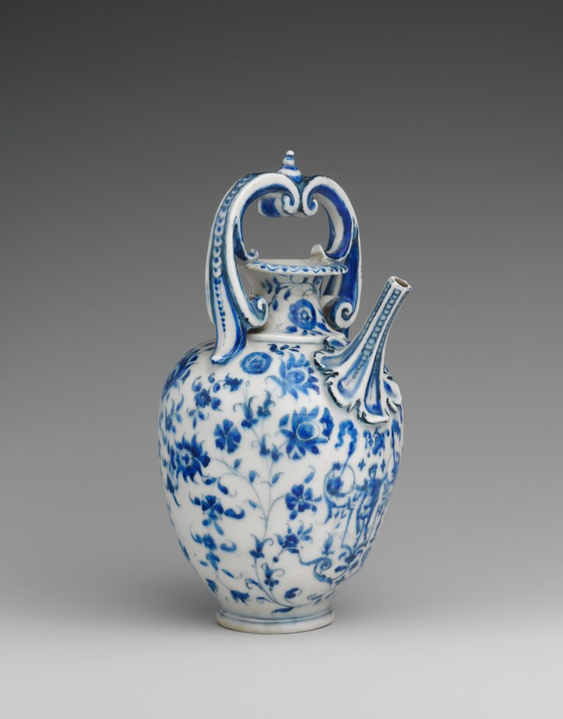Ewer, Medici Porcelain Factory; Florence, Italy, 1575 – 1587. The first identifiable porcelain produced in Europe was made in the Medici court workshops in Florence in the late sixteenth century. Under the patronage of Francesco I de' Medici, Grand Duke of Tuscany, experiments began around 1574 to make porcelain in imitation of Chinese blue and white wares, which were highly prized in Europe.