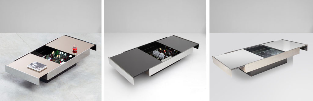 The three different versions of the Rizzo's coffee table.