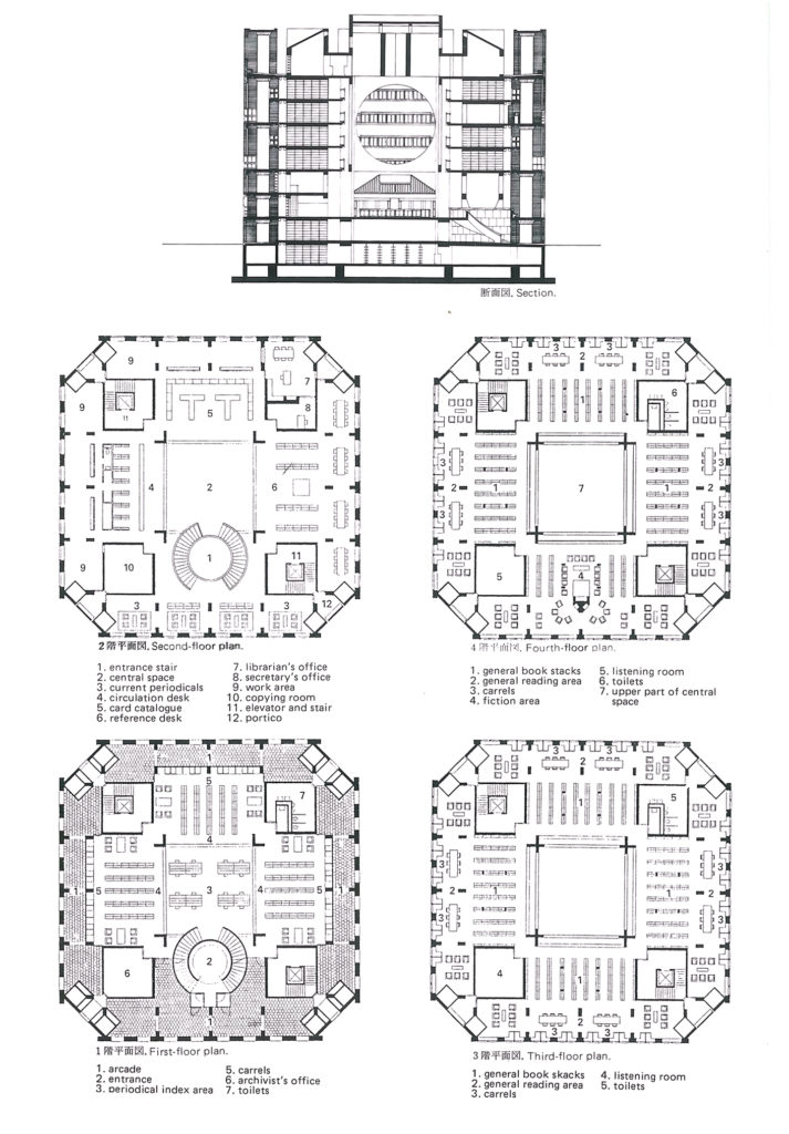 Floor plans and front section of the Phillips Exeter Academy Library.