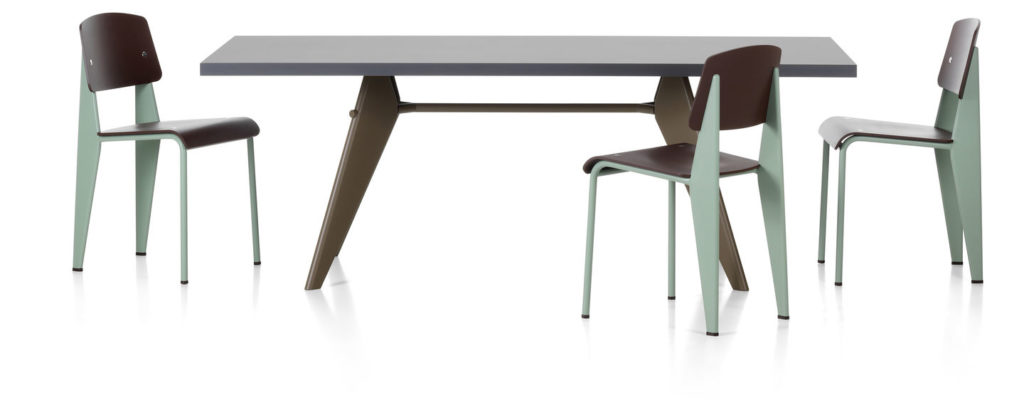 Standard Chair and EM Table, Jean Prouvé for Vitra, 1934-1950.