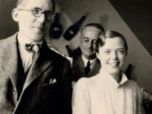 Le Corbusier, Charlotte Perriand and her first husband at the Salon d'Automne, Paris.