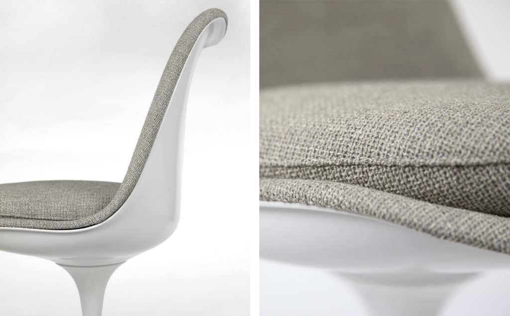 Details of the materials for the seat and back.