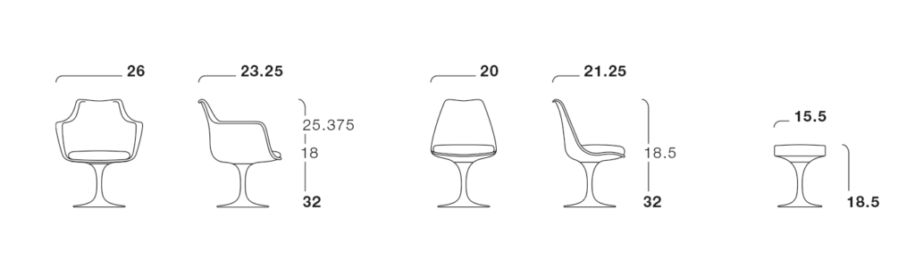 Technical drawings of the Tulip Armless Chair and the Tulip Arm Chair.