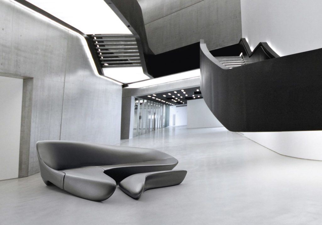 "The Moon System exposed at the exhibition ""L'Italia di Zaha Hadid"", at MAXXI in Rome."