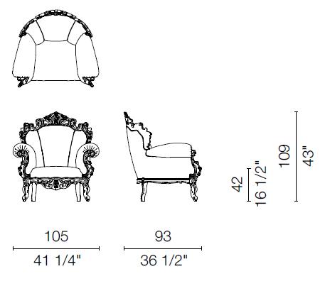 Proust Armchair dimensions.
