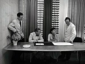 From left to right: Herbert Matter, Hans Knoll, Florence Knoll and Harry Bertoia, early 1950s.