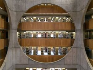The library's interior structure where the layout of the building is visible to the visitor.