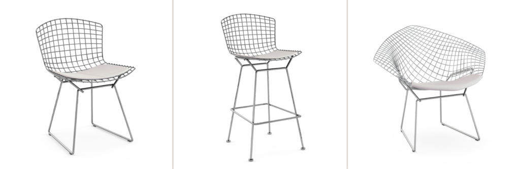 Bertoia Side Chair, Bertoia Barstool and Diamond Chair by Harry Bertoia for Knoll.