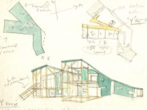 Early concept drawings made by Steven Holl for the Y House.